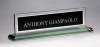 Glass Name Plate with Black Center Desk Wedge Name Plates