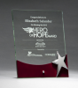 Glass Award with Silver Star and Rosewood Finish Base Employee Awards