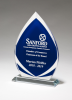 Flame Series Clear Glass Award with Blue Center and Frosted Accents Sales Awards