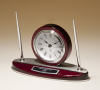 Rosewood Piano Finish Desk Clock and Pen Set with Silver Aluminum Accents Secretary Gift Awards