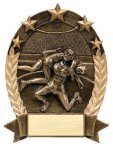 5 Star Oval  Wrestler 5 Star Oval Resin Trophy Awards