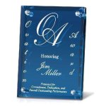 Clear Mirrored Backer with Blue Glass Achievement Awards