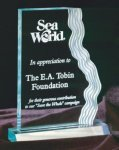 Clear or Jade Waterfall Edge Acrylic Award Achievement Awards