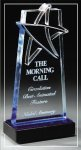 Blue Lasered Star Accent On Base Acrylic Awards
