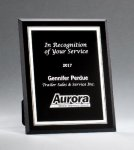 Black Glass Plaques with Silver Borders Black Glass Awards