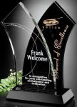 Tuxedo Award Wave Black Optical Crystal Awards