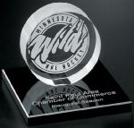 Hockey Puck on Black Glass Base Black Optical Crystal Awards