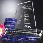 San Marcos Goal-Setter Perpetual Crystal Award Blue Optical Crystal Awards