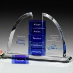 Hallock Goal-Setter Perpetual Crystal Award Blue Optical Crystal Awards