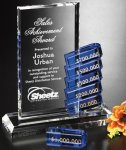 Renton Goal-Setter Perpetual Crystal Award Blue Optical Crystal Awards