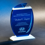 Pacific Wave Blue Optical Crystal Awards