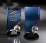 Hideaway Blue Optical Crystal Awards
