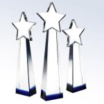Blue Star Goddess Blue Optical Crystal Awards