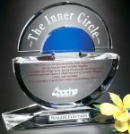 Concentric Award Blue Optical Crystal Awards