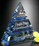 Accolade Pyramid Blue Optical Crystal Awards