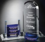 Goal-Setter Arch Blue Optical Crystal Awards