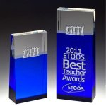 Together Blue Block Tower Crystal Award Blue Optical Crystal Awards
