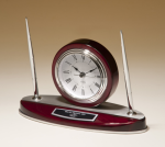 Rosewood Piano Finish Desk Clock and Pen Set with Silver Aluminum Accents Boss Gift Awards