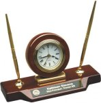 Rosewood Piano Finish Desk Clock W/Two Pens Boss' Gifts
