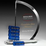 Como Goal-Setter Perpetual Crystal Award Clear Optical Crystal Awards