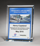 Personalize Your Glass Award with Four-Color Reproduction. Cobalt Glass Awards