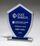 Shield-Shaped Glass Award with Blue Center and Etched Laurel Wreath Cobalt Glass Awards