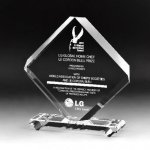 Rhombus Plaque Crystal Award Contemporary Corporate Crystal Awards