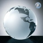 Frosted Ocean World Globe Crystal Glass Awards