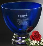 Cobalt Pedestal Bowl Crystal Glass Awards