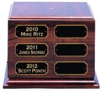 Cherry Finish Perpetual Trophy Base 7  Custom Bases for Perpetual Trophies