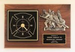 Fireman Award Clock with Antique Bronze Finish Casting. Desk Clocks