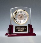 Glass Clock with Rosewood High Gloss Base Desk Clocks