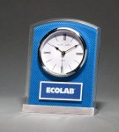 Glass Clock with Blue Carbon Fiber Design Desk Clocks