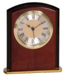 Mahogany Finish Square Arch Clock Award Desk Clocks