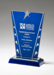 Constellation Series Glass Award - Blue Background and Chrome Plated Star Employee Awards