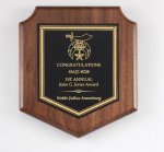 Walnut Corporate Shield Plaque Employee Awards