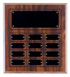 Economical Cherry Finish Perpetual Plaque with 12 Plates Employee Awards