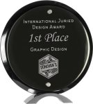 Round Black Piano Finish Glass Standup Employee Awards