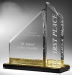 Multi-Faceted Dual Acrylic Column with Base Accent Color Executive Acrylic Awards