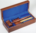 Walnut Finish Boxed Gavel Set with Sounding Block Gavel and Sounding Blocks