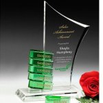 Creston Goal-Setter Perpetual Crystal Award Green Optical Crystal Awards