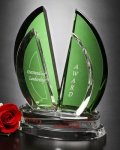 Flight Crystal Award Green Optical Crystal Awards