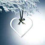 Beveled Jade Glass Heart Ornament Ornaments