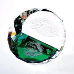 Duet Round Paperweight- Color Paperweight Crystal Awards