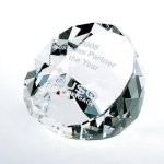 Duet Round Paperweight- Clear Paperweight Crystal Awards