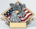Resin Diamond Plate Eagle Patriotic Awards