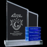 Perpetual Crystal Slant Tower Award with Blue Add-on Blocks Perpetual Crystal Awards