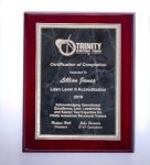 Rosewood High Lustr Plaque with Gray Marble Plate Piano Finish Plaques