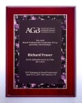 Airflyte® Rosewood High Luster Plaque with Violet Marble Border Design Piano Finish Plaques