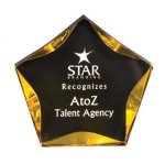 Black/Gold Luminary Star Acrylic Award Quick Ship